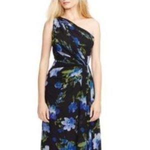 Lauren RL One Shoulder Dress Pleated 2 4 6 8 12 14